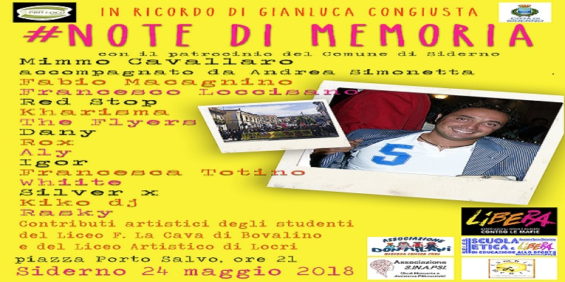 "Note di Memoria"" Evento musicale in ricordo di Gianluca Congiusta"